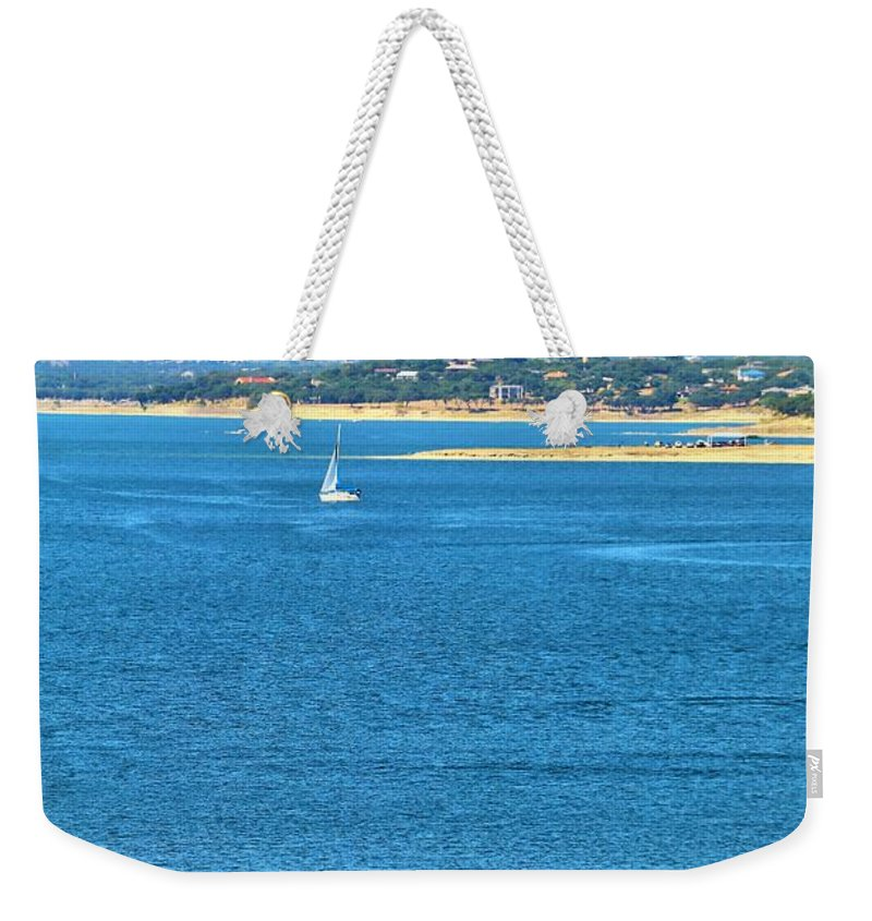 Sail Boat Weekender Tote Bag featuring the photograph Sailing Solo by Jeff Downs