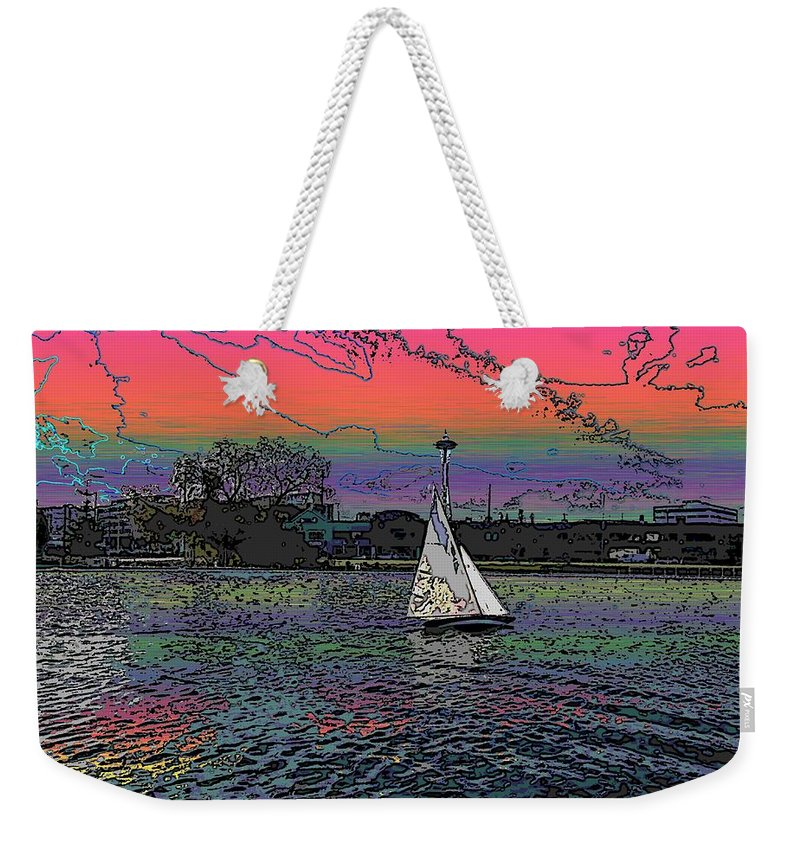 Sail Weekender Tote Bag featuring the digital art Sailing South Lake Union by Tim Allen