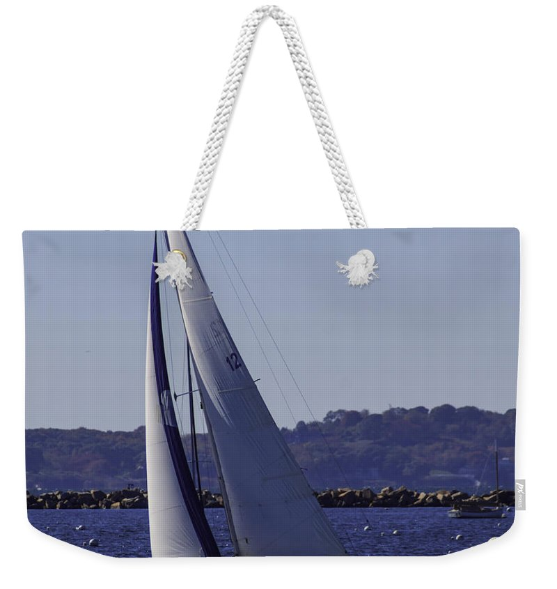 Atlantic Weekender Tote Bag featuring the photograph Sailing Stonington Harbor by Joe Geraci