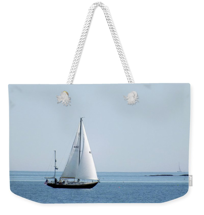 Sailboat Weekender Tote Bag featuring the photograph Sailing The Coast by Bill Morgenstern