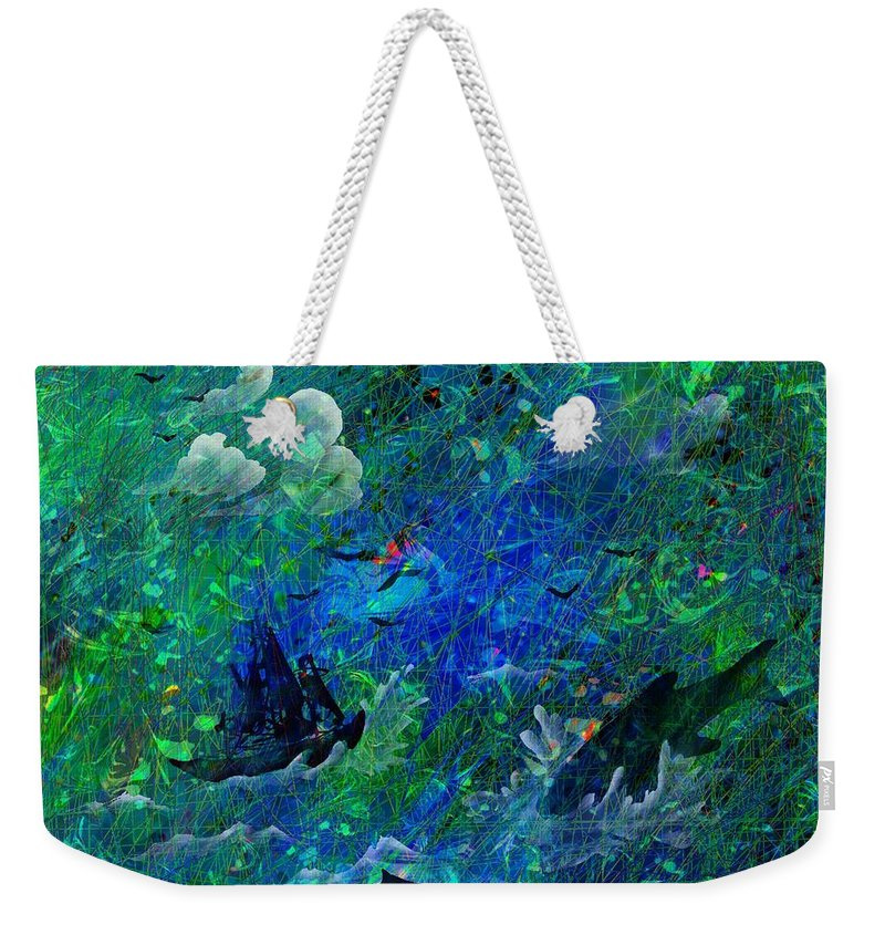 Seascape Weekender Tote Bag featuring the digital art Sailing The Seven Seas by Rachel Christine Nowicki