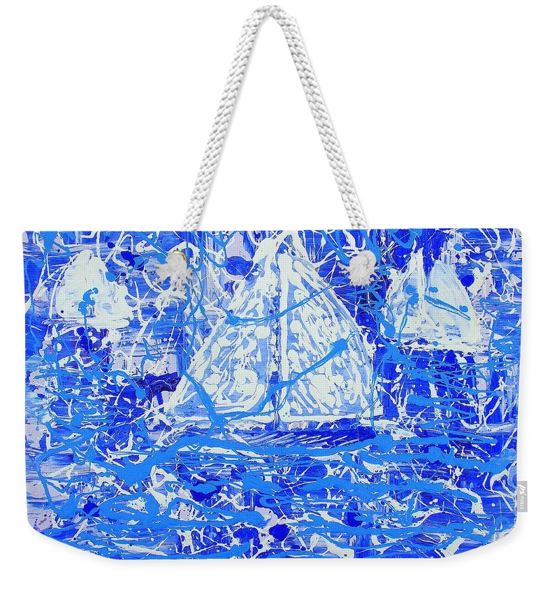 Sailing Weekender Tote Bag featuring the painting Sailing With Friends by J R Seymour