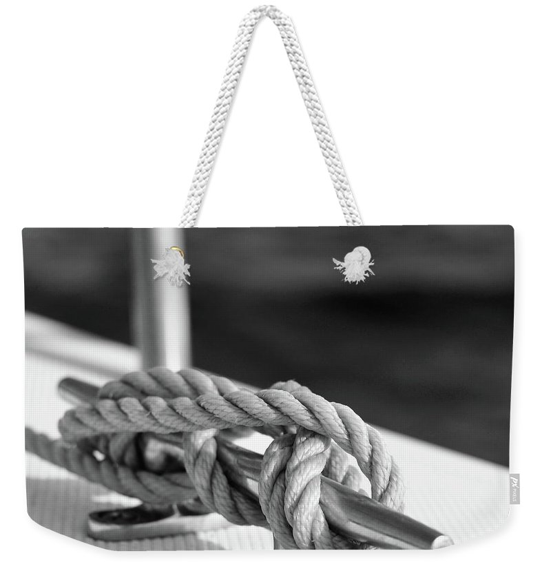Laura Fasulo Weekender Tote Bag featuring the photograph Sailor's Knot Square by Laura Fasulo