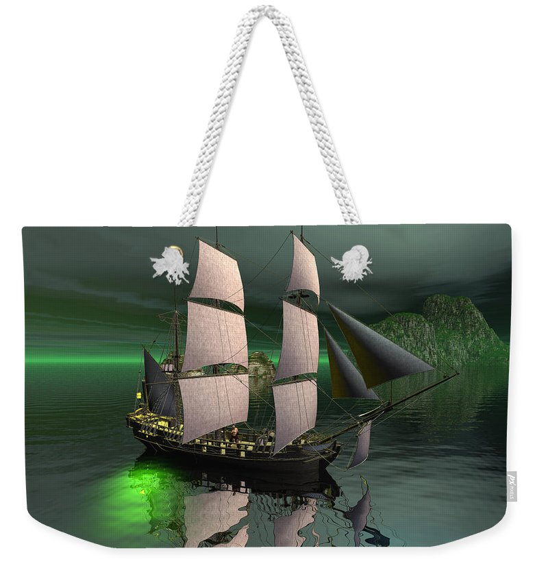 Sailship Weekender Tote Bag featuring the digital art Sailship in the night by John Junek