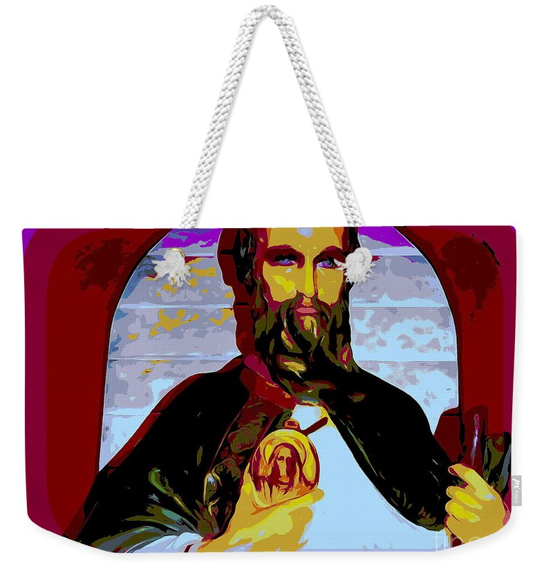 Anstract Weekender Tote Bag featuring the digital art Saint Holding Medallion by Ed Weidman