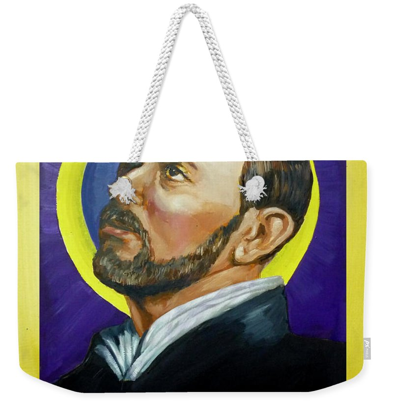 Saint Weekender Tote Bag featuring the painting Saint Ignatius Loyola by Bryan Bustard