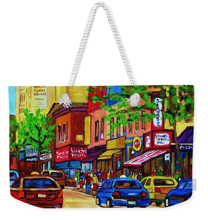 Cityscape Weekender Tote Bag featuring the painting Saint Lawrence Street by Carole Spandau