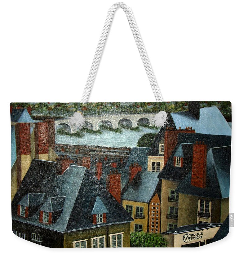 Acrylic Weekender Tote Bag featuring the painting Saint Lubin Bar In Lyon France by Nancy Mueller