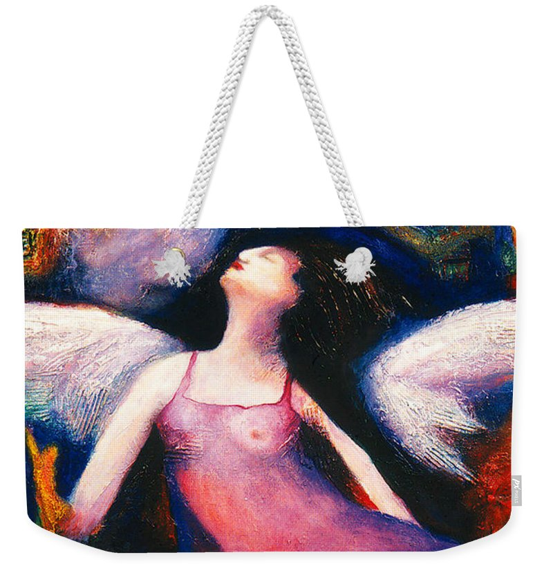 Saint Weekender Tote Bag featuring the painting Saint Marcela by Claudia Fuenzalida Johns