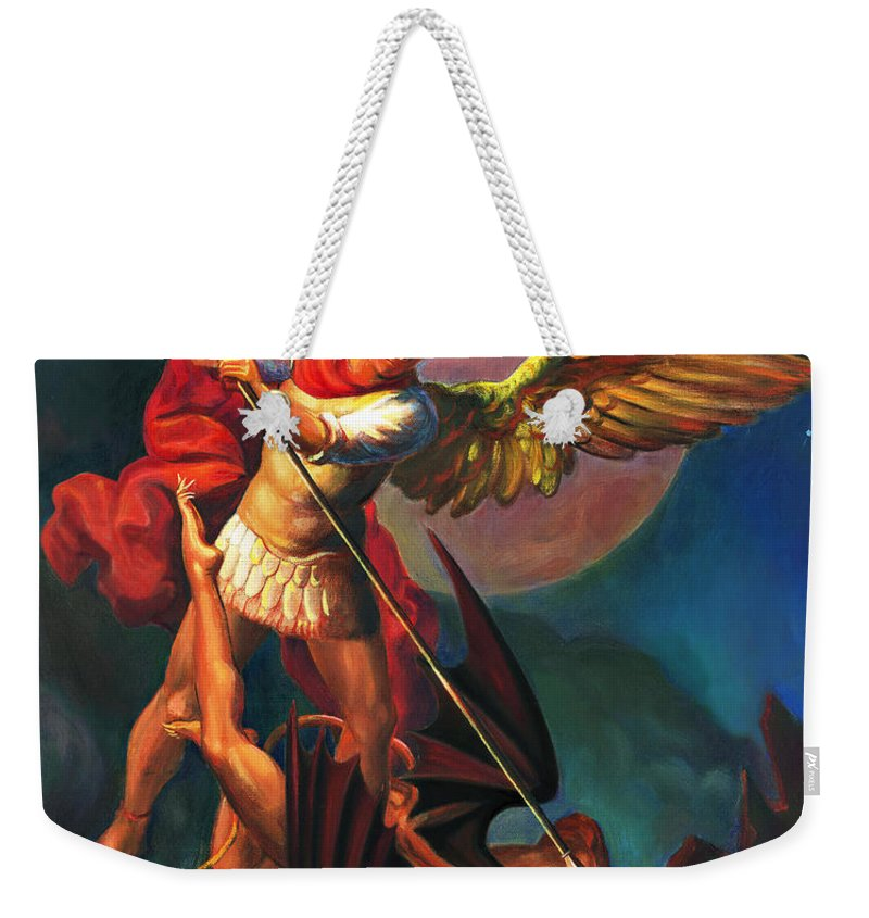 Bible Weekender Tote Bag featuring the painting Saint Michael The Warrior Archangel by Svitozar Nenyuk