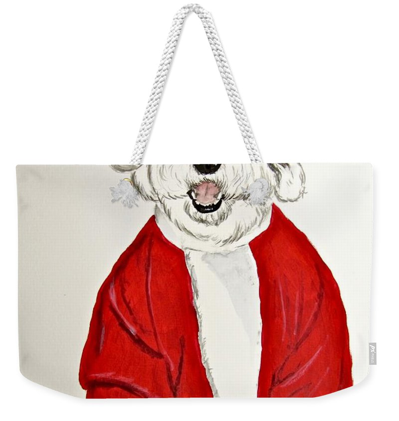 Old English Sheepdog Weekender Tote Bag featuring the painting Saint Nick by Carol Blackhurst