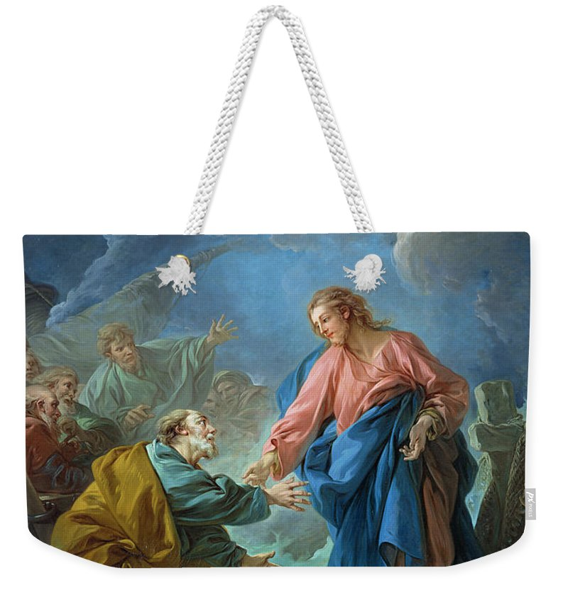 Peter Weekender Tote Bag featuring the painting Saint Peter Invited To Walk On The Water by Francois Boucher