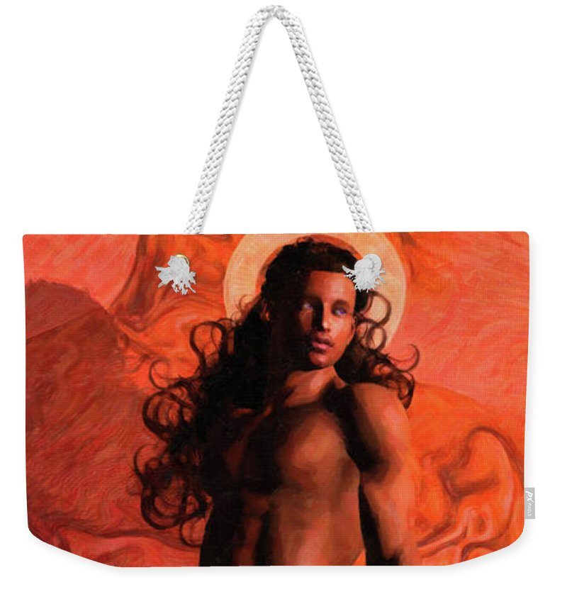 Santo Rojo Weekender Tote Bag featuring the painting Saint Stranger by Quim Abella