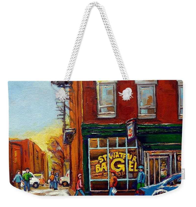 Montreal Weekender Tote Bag featuring the painting Saint Viareur And Park Avenue Bagel Shop by Carole Spandau