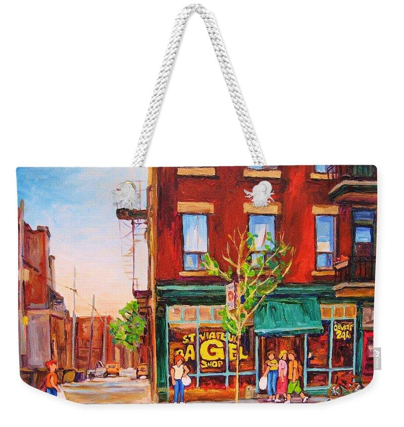 Montreal Weekender Tote Bag featuring the painting Saint Viateur Bagel by Carole Spandau