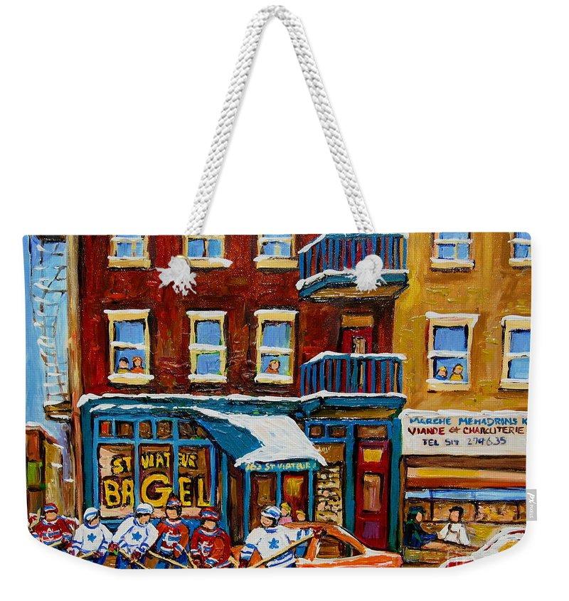 Montreal Weekender Tote Bag featuring the painting Saint Viateur Bagel With Hockey by Carole Spandau