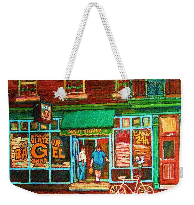 Saint Viateur Bagel Weekender Tote Bag featuring the painting Saint Viateur Bakery by Carole Spandau