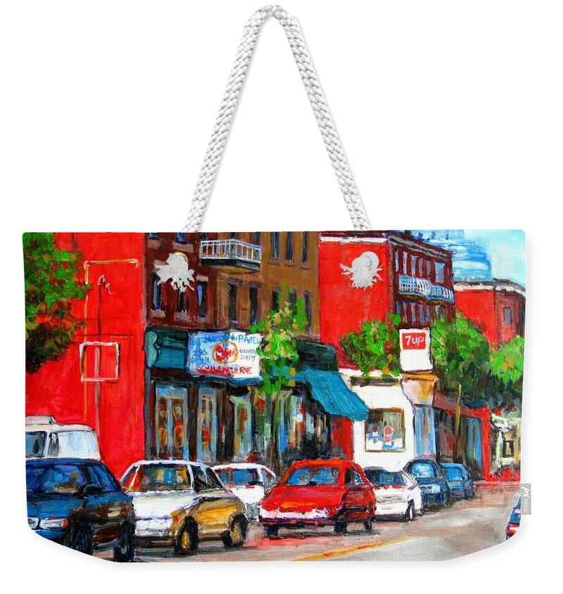 St.viateur Bagel Weekender Tote Bag featuring the painting Saint Viateur Street by Carole Spandau