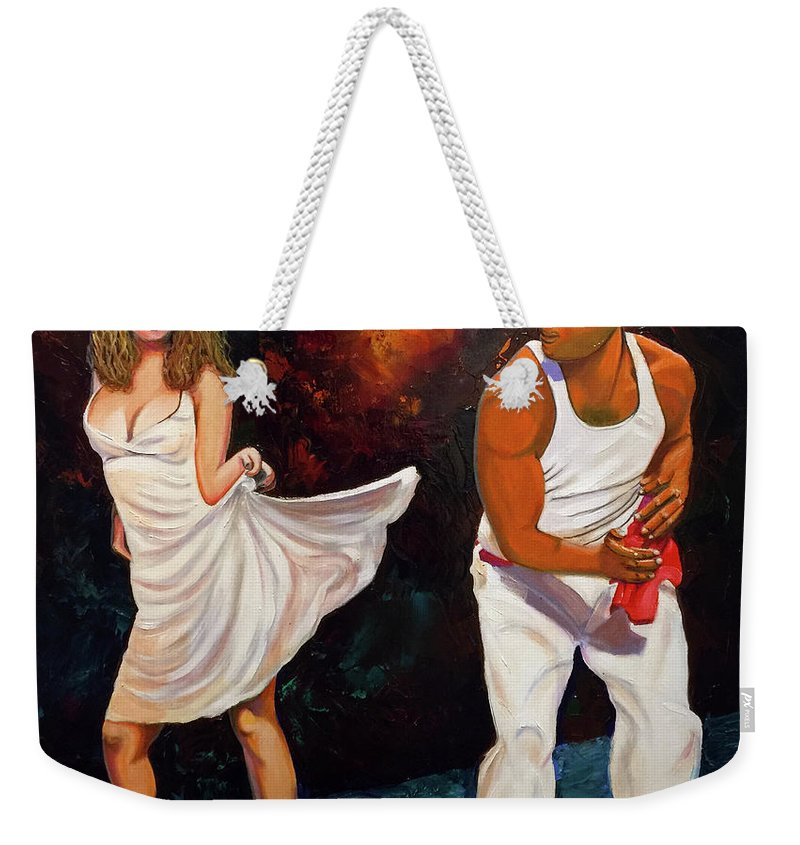 Dancing Cuba Painting Salsa Woman Weekender Tote Bag featuring the painting Salsa 2 by Jose Manuel Abraham