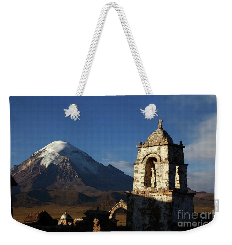 Bolivia Weekender Tote Bag featuring the photograph Sajama Volcano And Lagunas Church Belfry Bolivia by James Brunker