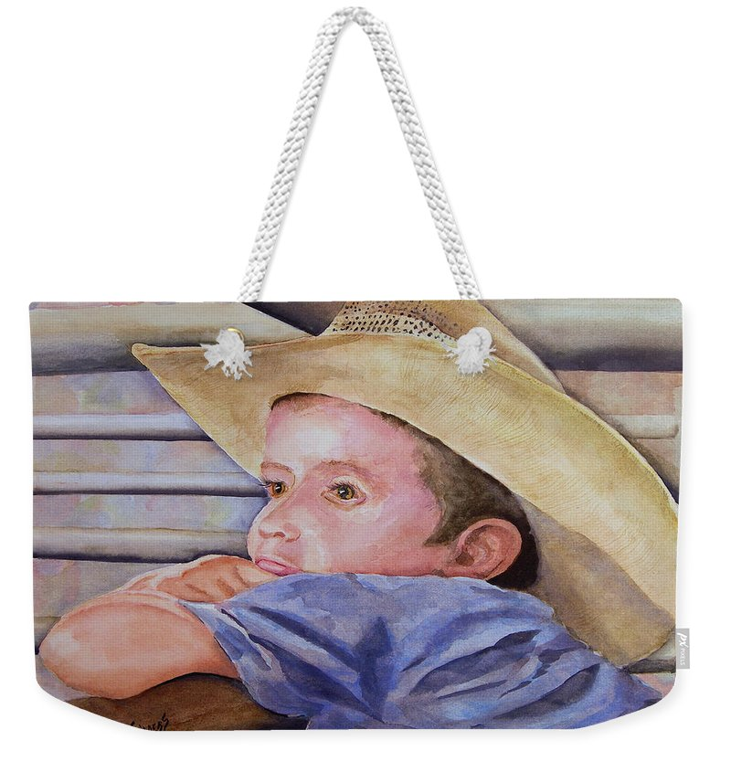 Sale Weekender Tote Bag featuring the painting Sale Day by Sam Sidders