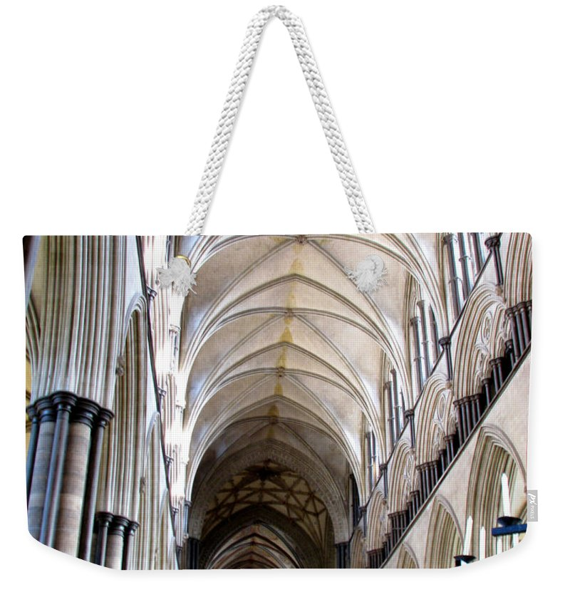 Salisbury Weekender Tote Bag featuring the photograph Salisbury Cathedral by Amanda Barcon