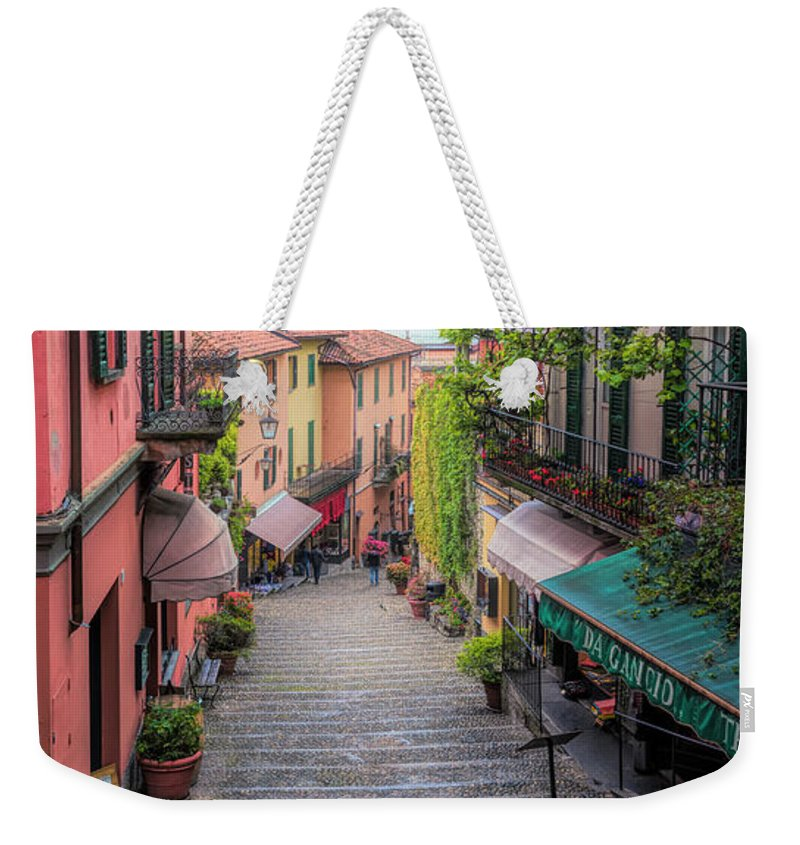 Joan Carroll Weekender Tote Bag featuring the photograph Salita Serbelloni Bellagio Italy by Joan Carroll