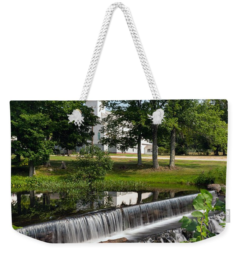 Salmon Weekender Tote Bag featuring the photograph Salmon Falls River Dam by Betty Denise