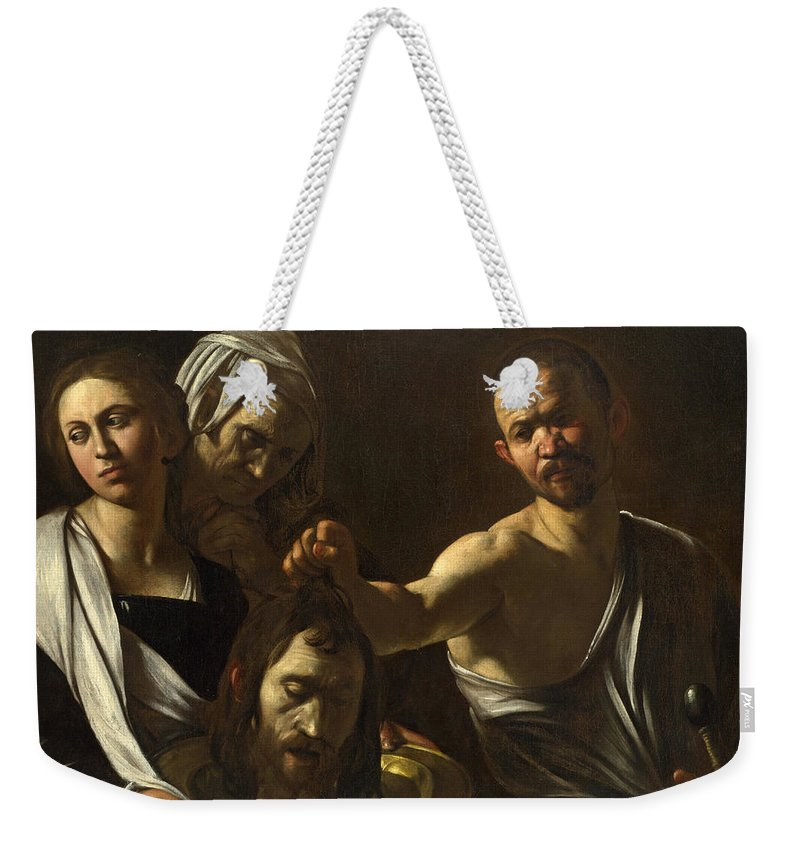 Caravaggio Weekender Tote Bag featuring the painting Salome Receives The Head Of Saint John The Baptist by Caravaggio