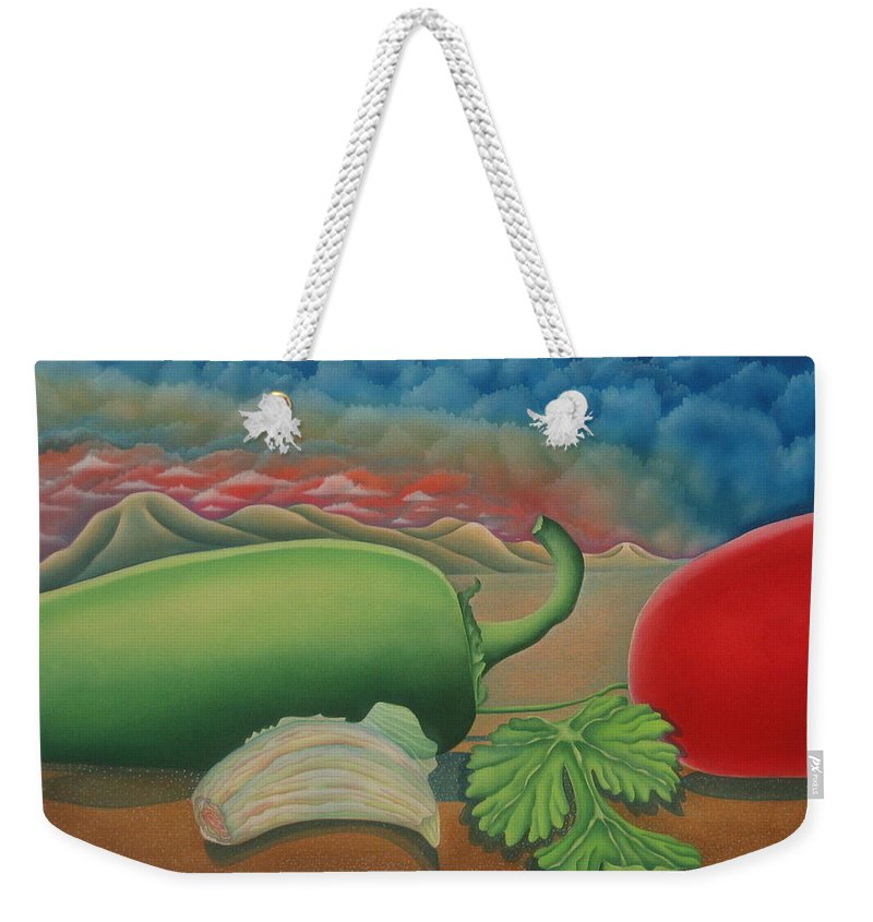 Vegetables Weekender Tote Bag featuring the painting Salsa Across Texas by Jeniffer Stapher-Thomas