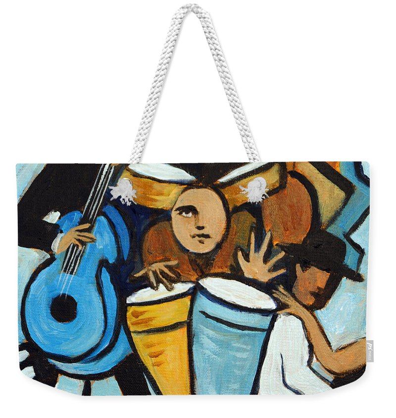 Cubist Salsa Dancers Weekender Tote Bag featuring the painting Salsa Night by Valerie Vescovi