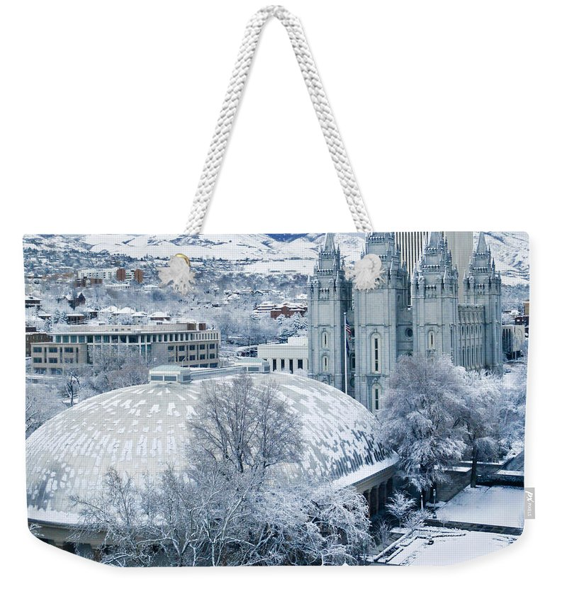 Mormon Weekender Tote Bag featuring the photograph Salt Lake City Tabernacle And Temple by Marilyn Hunt