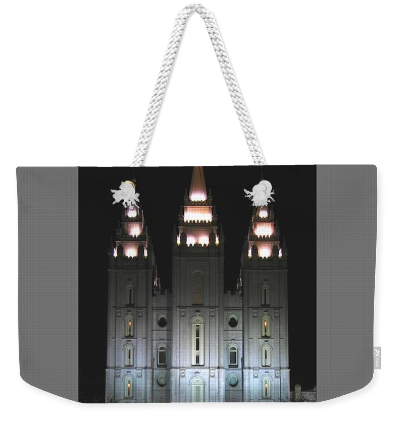 Religion Weekender Tote Bag featuring the photograph Salt Lake City Temple At Night by Frederick Holiday