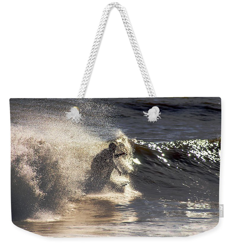Clay Weekender Tote Bag featuring the photograph Salt Spray Surfing by Clayton Bruster