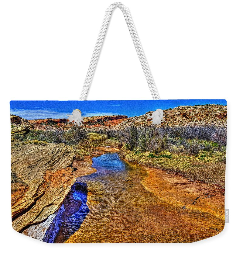 Pictorial Weekender Tote Bag featuring the photograph Salt Wash Near Wolf Ranch Arches Np Moab Utah by Roger Passman