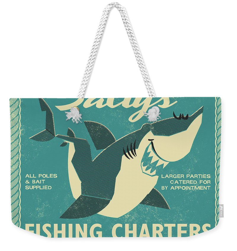 Fish Weekender Tote Bag featuring the drawing Salty's Fishing Charters by Daviz Industries