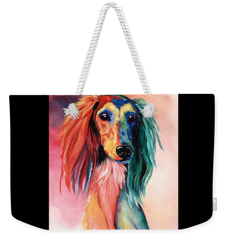 Saluki Weekender Tote Bag featuring the painting Saluki Sunset by Kathleen Sepulveda