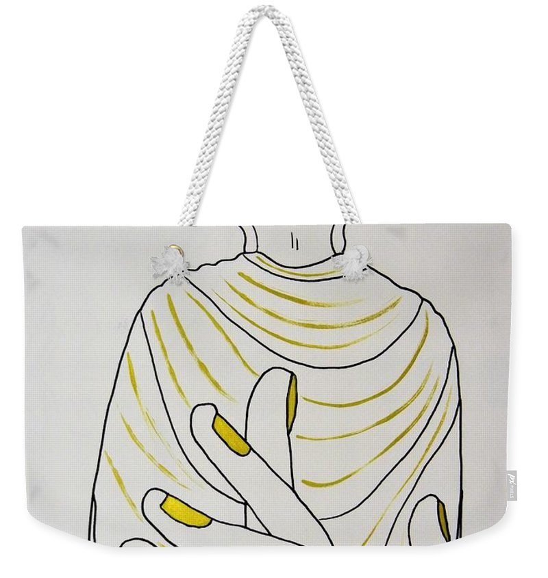 Meditation Weekender Tote Bag featuring the drawing Salvation by Kruti Shah