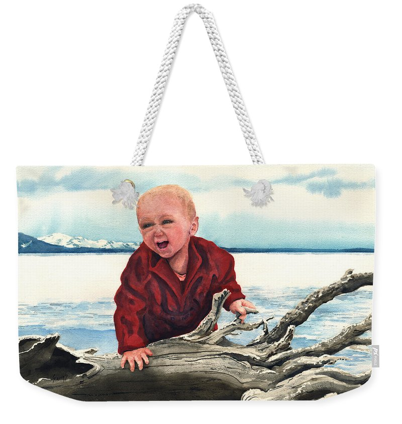Child Weekender Tote Bag featuring the painting Sam And The Log by Sam Sidders