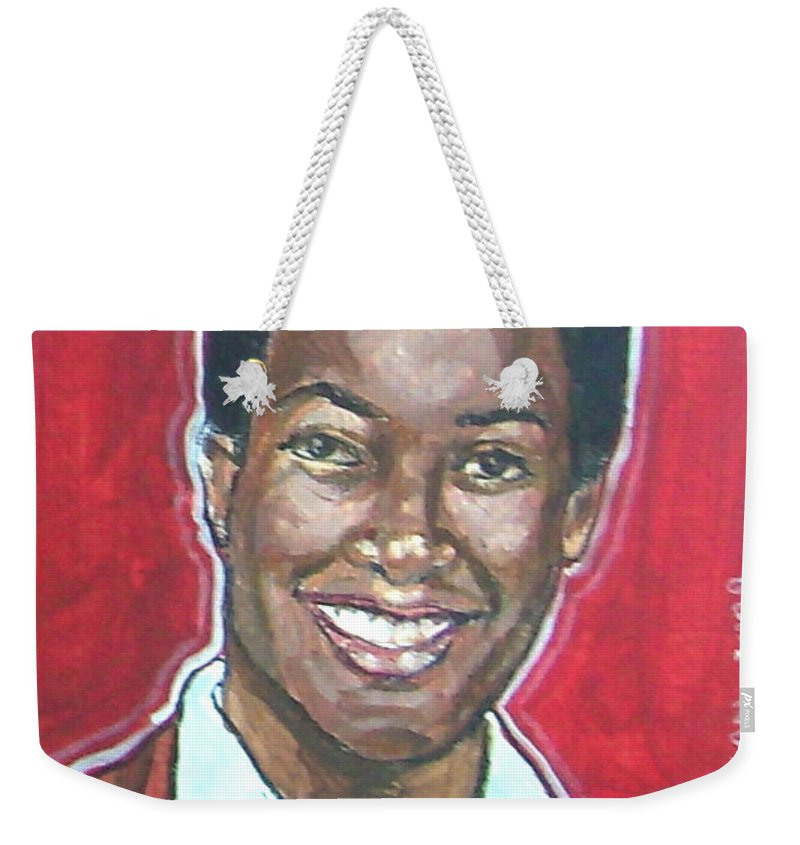 Sam Cooke Weekender Tote Bag featuring the painting Sam Cooke by Bryan Bustard