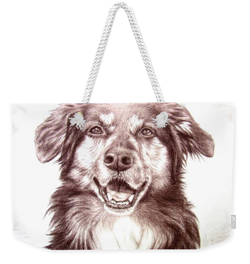 Dog Weekender Tote Bag featuring the drawing Sam by Nicole Zeug