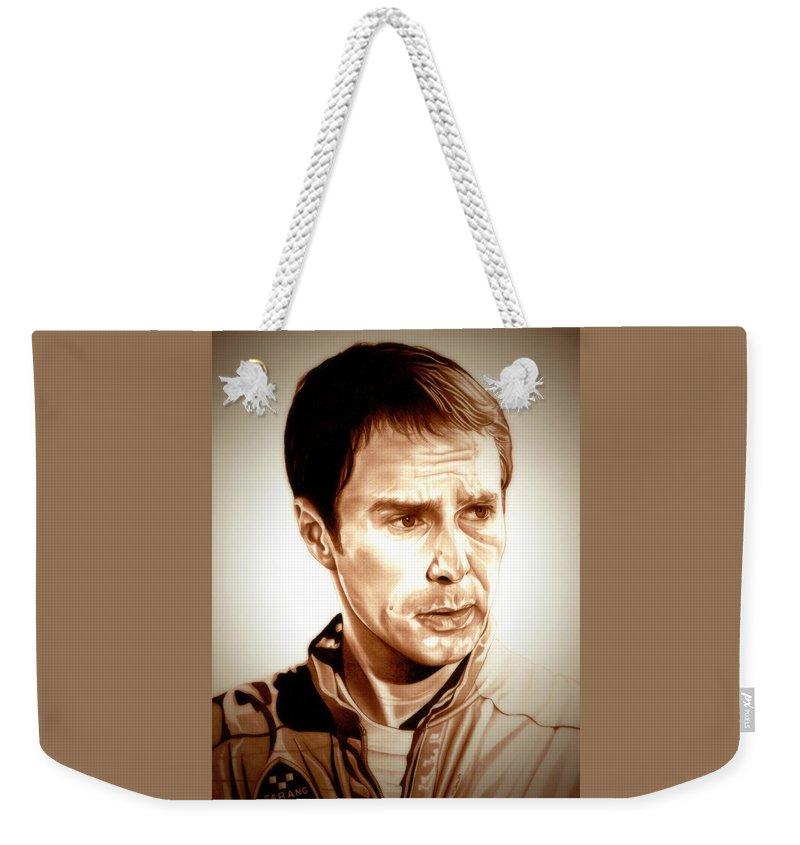 Moon Weekender Tote Bag featuring the drawing Sam Rockwell Moon by Fred Larucci
