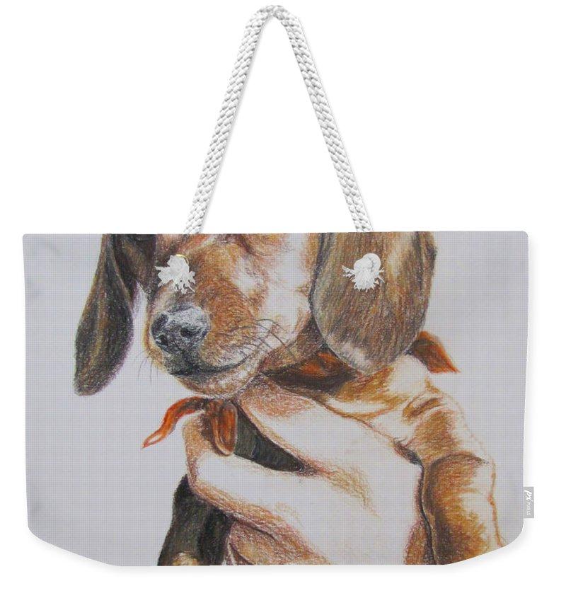 Puppy Weekender Tote Bag featuring the drawing Sambo by Karen Ilari