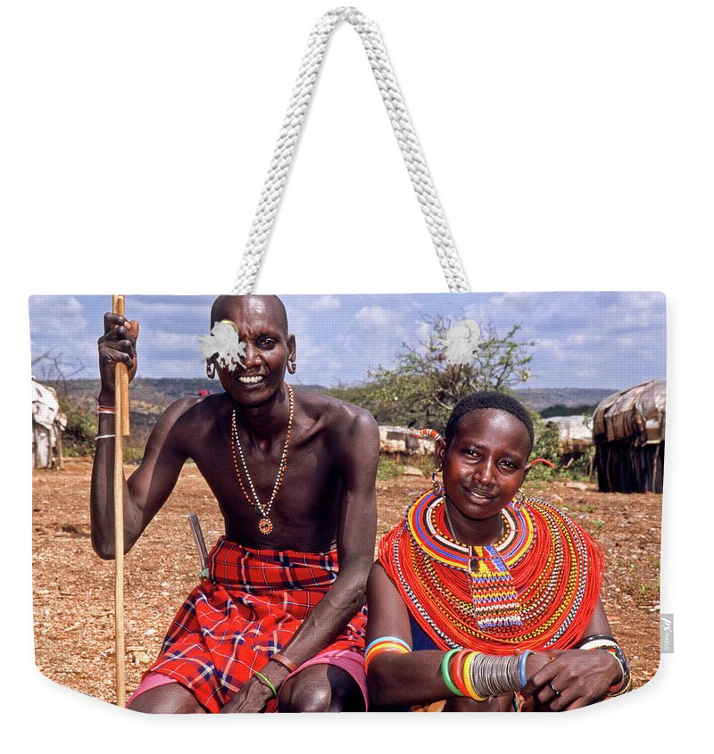 Africa Weekender Tote Bag featuring the photograph Samburu Couple by Michele Burgess