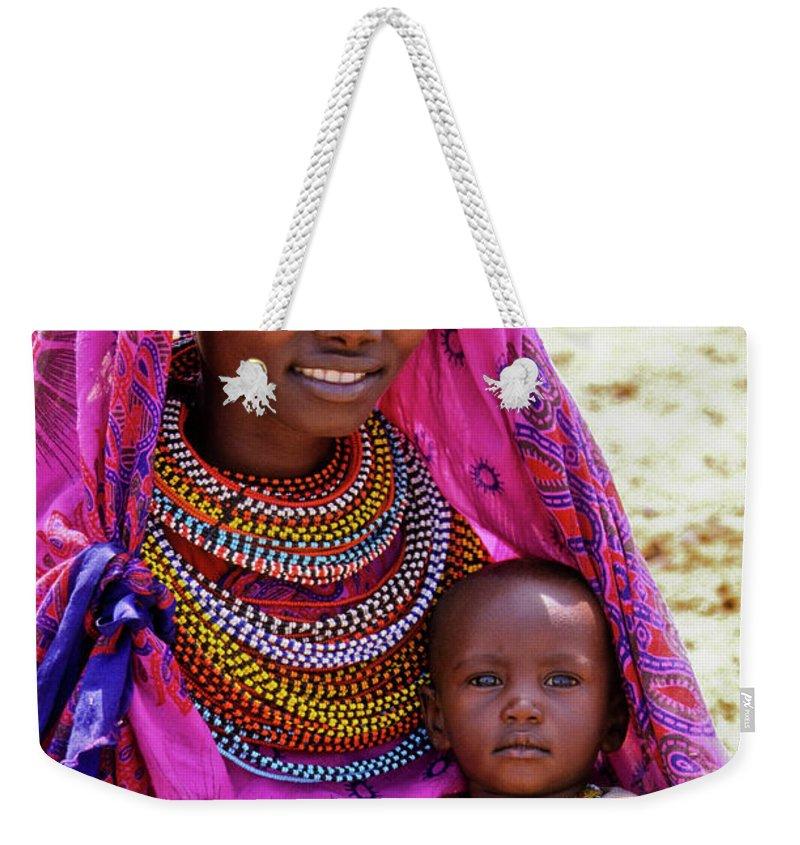 Africa Weekender Tote Bag featuring the photograph Samburu Madonna by Michele Burgess