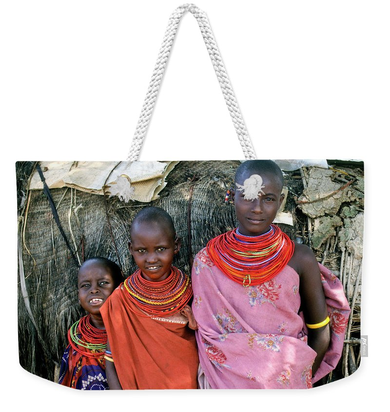 Africa Weekender Tote Bag featuring the photograph Samburu Sisters by Michele Burgess