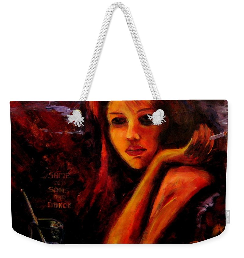 Woman Weekender Tote Bag featuring the painting Same Old Song And Dance by Jason Reinhardt