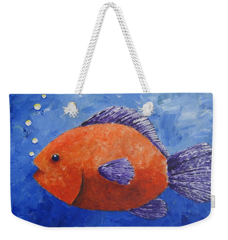 Fish Weekender Tote Bag featuring the painting Sammy by Suzanne Theis
