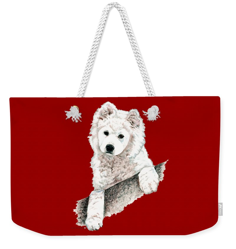 Sammy Weekender Tote Bag featuring the drawing Samoyed Puppy by Kathleen Sepulveda