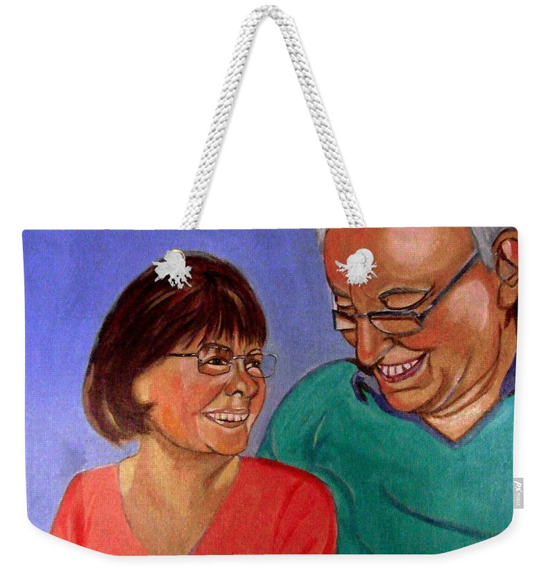 Relationships Weekender Tote Bag featuring the painting Samson and Delia by Rusty Gladdish